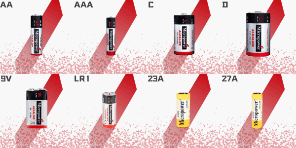 Microcell AA, AAA, C, D, 9V, LR1, 23A, 27A Alkaline Battery
