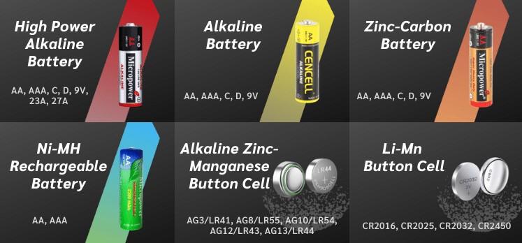 Microcell Battery Types: Alkaline Battery, Zinc Carbon Battery